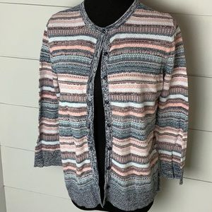 Loft pink and gray cardigan
